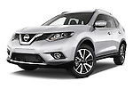 Stock pictures of low aggressive front three quarter view of a 2014 Nissan X-TRAIL Tenka 5 Door SUV 2WD Low Aggressive