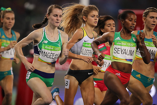 14.08.2016. Rio de Janeiro, Brazil. Ciara Mageean (L) of Ireland, Konstanze Klosterhalfen (C) of Germany compete in Women's 1500m Semifinals of the Athletic, Track and Field events during the Rio 2016 Olympic Games at Olympic Stadium in Rio de Janeiro, Brazil, 14 August 2016.