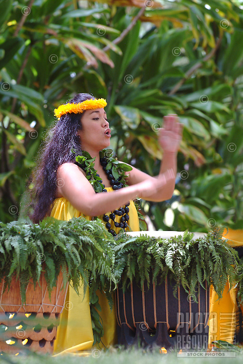 Hawaiian woman chants and keeps rhythm with pahu drums during a hula performance at Prince Lot Hula Festival in Moanalua Gardens on O'ahu.