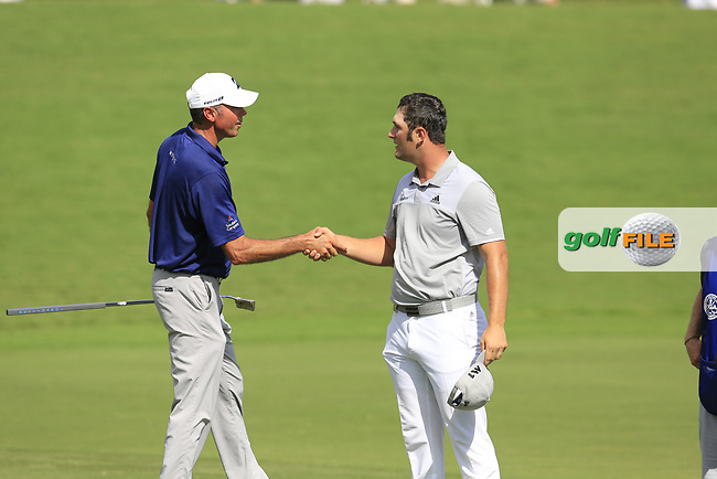Matt Kuchar (USA) and Jon Rahm (ESP) finish on the 18th green during Saturday's Round 3 of the 2017 PGA Championship held at Quail Hollow Golf Club, Charlotte, North Carolina, USA. 12th August 2017.<br /> Picture: Eoin Clarke | Golffile<br /> <br /> <br /> All photos usage must carry mandatory copyright credit (&copy; Golffile | Eoin Clarke)