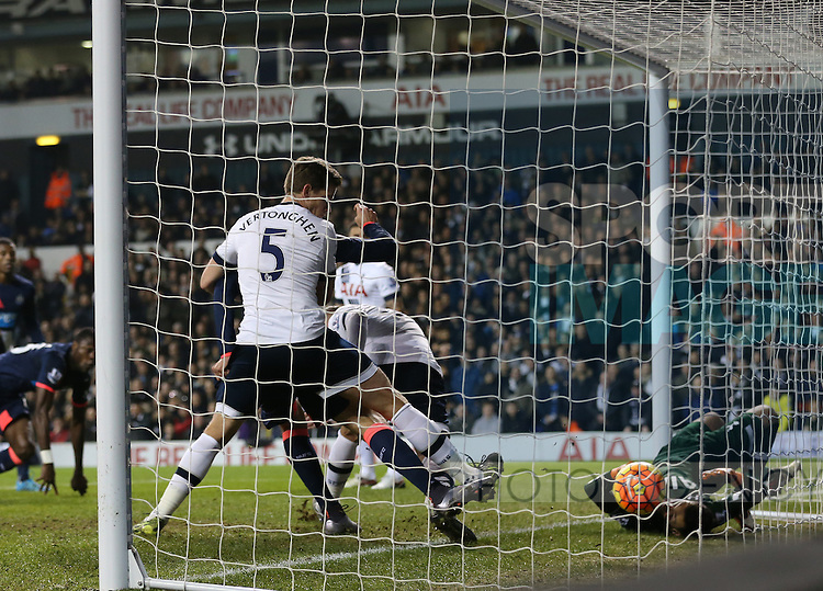 Newcastle's Aleksandar Mitrovic scoring his sidess opening goal<br /> <br /> Barclays Premier League- Tottenham Hotspur vs Newcastle United - White Hart Lane - England - 13th December 2015 - Picture David Klein/Sportimage