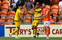 Milton Keynes Dons' David Kasumu celebrates scoring his side's third goal with teammates<br /> <br /> Photographer Alex Dodd/CameraSport<br /> <br /> The EFL Sky Bet League One - Blackpool v MK Dons  - Saturday September 14th 2019 - Bloomfield Road - Blackpool<br /> <br /> World Copyright © 2019 CameraSport. All rights reserved. 43 Linden Ave. Countesthorpe. Leicester. England. LE8 5PG - Tel: +44 (0) 116 277 4147 - admin@camerasport.com - www.camerasport.com