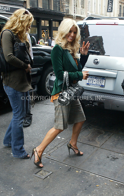 WWW.ACEPIXS.COM . . . . .  ....NEW YORK, SEPTEMBER 26, 2005....Jessica Simpson leaves her midtown hotel to attend an event in SoHo. She then departs from the event on Spring Street and heads to Jerry's for lunch. After grabbing a late lunch she returns to her midtown hotel.....Please byline: PAUL CUNNINGHAM - ACE PICTURES..... *** ***..Ace Pictures, Inc:  ..Craig Ashby (212) 243-8787..e-mail: picturedesk@acepixs.com..web: http://www.acepixs.com