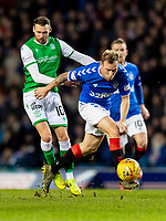 5th February 2020; Ibrox Stadium, Glasgow, Scotland; Scottish Premiership Football, Rangers versus Hibernian; Scott Arfield of Rangers gets way from Martin Boyle of Hibernian