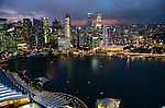 View of Singapore Marina Bay skyline from the top of Marina Bay Sands hotel