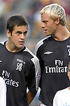 29 July 2004: Joe Cole and Eidur Gudjohnsen before the game. Chelsea of the English Premier League defeated AS Roma of La Liga at Heinz Field in Pittsburgh, PA in a ChampionsWorld Series friendly match...