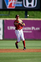 Altoona Curve shortstop Cole Tucker (3) throws to first base during a game against the Richmond Flying Squirrels on May 15, 2018 at Peoples Natural Gas Field in Altoona, Pennsylvania.  Altoona defeated Richmond 5-1.  (Mike Janes/Four Seam Images)