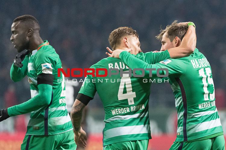 03.12.2016, Weser Stadion, Bremen, GER, 1.FBL, Werder Bremen vs FC Ingolstadt, im Bild<br /> <br /> 2 zu 1 durch Fin Bartels (Bremen #22) <br /> <br /> jubel mit der Mannschaft<br /> <br /> Lamine San&eacute; / Sane (Bremen #26)<br /> Robert Bauer (Bremen #4)<br /> Izet Hajrovic (Bremen #15)<br /> <br /> Foto &copy; nordphoto / Kokenge