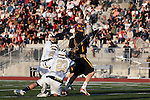 San Diego, CA 05/29/10 - Steven Bogert (LCC# 23), Andrew Bertha (LCC# 8) and Erik Myers (Torrey Pines # 14) in action during the La Costa Canyon vs Torrey Pines boys lacrosse game for the 2010 San Diego Section CIF Championship, hosted at Del Norte High School.  La Costa Canyon defeated Torrey Pines 12-6.