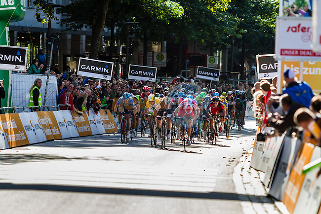 Alexander Kristoff (NOR) of Team Katusha wins sprint finish, 2nd Giacomo Nizzolo (ITA) and 3rd Simon Gerrans (AUS), Vattenfall Cyclassics, Hamburg, Germany, 24 August 2014, Photo by Thomas van Bracht