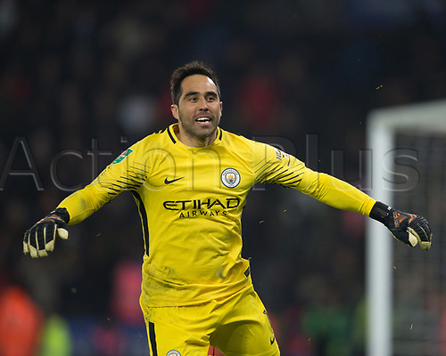 19th December 2017, King Power Stadium, Leicester, England; Carabao Cup quarter-final, Leicester City versus Manchester City; Claudio Bravo of Manchester City celebrates after saving Riyad Mahrez of Leicester City's penalty  in penalty shoot out
