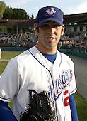 August 9, 2004:  Pitcher Zach Jackson of the Auburn Doubledays, Short-Season Single-A affiliate of the Toronto Blue Jays, during a game at Falcon Park in Auburn, NY.  Photo by:  Mike Janes/Four Seam Images