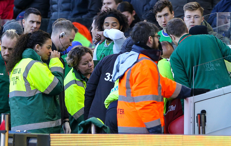Leeds United's Jack Clarke receives treatment from medical staff on the bench during the second half<br /> <br /> Photographer Alex Dodd/CameraSport<br /> <br /> The EFL Sky Bet Championship - Middlesbrough v Leeds United - Saturday 9th February 2019 - Riverside Stadium - Middlesbrough<br /> <br /> World Copyright &copy; 2019 CameraSport. All rights reserved. 43 Linden Ave. Countesthorpe. Leicester. England. LE8 5PG - Tel: +44 (0) 116 277 4147 - admin@camerasport.com - www.camerasport.com