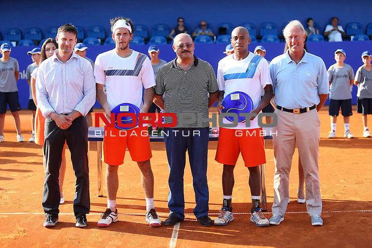 07/27/2013., Umag - 24th Vegeta Croatia Open tennis tournament. Finale pairs award. Won the first place Martin Klizan and David Marrero, and Nicholas Monroe and Simon Stadler won second place.<br /> <br /> Foto &not;&copy;  nph / PIXSELL / Peter Glebov