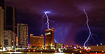 Lightning storm over Las Vegas 09-13-2017 Las Vegas rings in 2018 with fireworks from the top of the Stratosphere