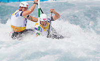 02 AUG 2012 - CHESHUNT, GBR - Etienne Stott (GBR) (left) and Tim Baillie (GBR) (right) of Great Britain make their semi final run during the men's Canoe Double (C2) during the London 2012 Olympic Games event at Lee Valley White Water Centre, Cheshunt, Great Britain (PHOTO (C) 2012 NIGEL FARROW)