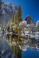 Frosty trees and mountains reflect in the calm water of the Merced in Yosemite Valley after the first snow of winter