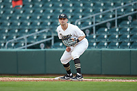 Wake Forest Demon Deacons first baseman Jake Mueller (23) on defense against the Furman Paladins at BB&T BallPark on March 2, 2019 in Charlotte, North Carolina. The Demon Deacons defeated the Paladins 13-7. (Brian Westerholt/Four Seam Images)