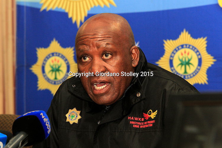DURBAN, 16 December 2015 - Major General Berning Ntlemeza, the head of the South African  police's elite Directorate for Priority Crime Investigations tells reporters that he has submitted a proposal that anyone convicted of being illegally in possession of a gun should be subjected to a minimum term of life imprisonment, which in South Africa is 25 years, before parole consideration. Ntlemeza was speaking at a press conference to launch the police's annual festive season crackdown. South Africa has one of the highest murder rates in the world, with  17,805 murders committed from April 2014 to March 2015 or an average of 49 murders everyday. Picture: Allied Picture Press/APP
