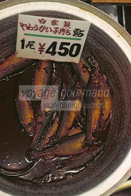 """Asie/Japon/Kyoto: Le marché couvert de """"Nishikikoji-dori"""" - Détail de poissons marinés"""