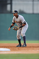 First baseman Isaias Tejeda (19) of the Charleston RiverDogs in a game against the Greenville Drive on Monday, June 29, 2015, at Fluor Field at the West End in Greenville, South Carolina. Greenville won, 4-2. (Tom Priddy/Four Seam Images)