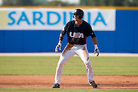 27 September 2009: Buck Coats of Team USA takes a lead during the 2009 Baseball World Cup gold medal game won 10-5 by Team USA over Cuba, in Nettuno, Italy.