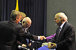 "Hofstra President Stuart Rabinowitz ((right) and others speaking with Governor Howard B. Dean III (far left), Edward J. Rollins (center), and Lord Stewart Wood .of Anfield (first from left) after panel on ""Change in the White House?"" on Thursday, April 19, 2012, at Hofstra University, Hempstead, New York, USA. Hofstra's event was part of ""Debate 2012"" which leads up to the Presidential Debate Hofstra is hosting on October 15, 2012. Governor Howard B. Dean III, is a former Democratic National Committee Chairman, presidential candidate, six term Governor of Vermont, and physician. Edward J. Rollins managed President Ronald Reagan's 49 state landslide reelection campaign in 1984, and had major managerial roles in nine other Presidential campaigns. Lord Stewart Wood, a British academic and Labour life peer in the House of Lords, served as Senior Policy Advisor to Prime Minister Brown and campaign manager for the successful campaign of Ed Milliband to Labour Party Leader."