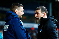^29th December 2019; The Hawthorns, West Bromwich, West Midlands, England; English Championship Football, West Bromwich Albion versus Middlesbrough; Middlesbrough Manager Jonathan Woodgate pictured with West Bromwich Albion Manager Slaven Bilic before kickoff - Strictly Editorial Use Only. No use with unauthorized audio, video, data, fixture lists, club/league logos or 'live' services. Online in-match use limited to 120 images, no video emulation. No use in betting, games or single club/league/player publications