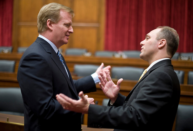 "NFL Commissioner Roger Goodell, left, speaks with Rep. Steve Scalise, R-La., before the start of the House Energy and Commerce Committee Commerce, Trade, and Consumer Protection Subcommittee hearing on ""The NFL StarCaps Case: Are Sports' Anti-Doping Programs At A Legal Crossroads?"" on Tuesday, Nov. 3, 2009."