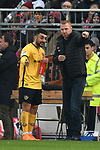 01.12.2018,  GER; 2. FBL, FC St. Pauli vs SG Dynamo Dresden ,DFL REGULATIONS PROHIBIT ANY USE OF PHOTOGRAPHS AS IMAGE SEQUENCES AND/OR QUASI-VIDEO, im Bild Trainer Maik Walpurgis (Dresden) redet mit Aias Aosman (Dresden #10) Foto © nordphoto / Witke *** Local Caption ***