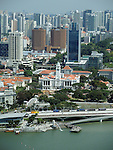 Singapore skyline, Merlion, Victoria Theater from top of Marina Bay sands hotel