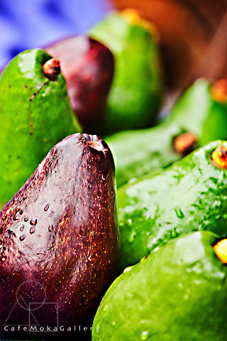 Avocado pears green and purple, close up. Locally known in Trinidad as zaboca