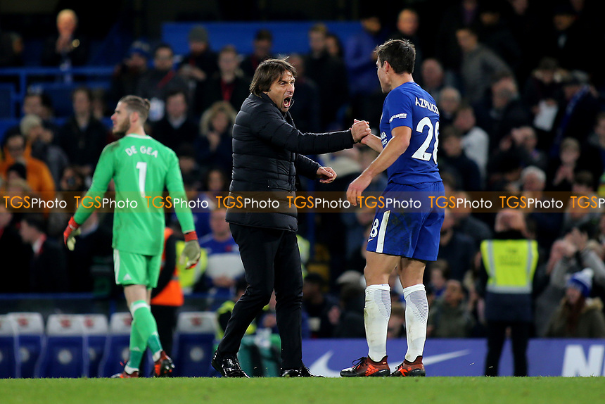 Chelsea Manager, Antonio Conte celebrates with Cesar Azpilicuetar at the final whistle during Chelsea vs Manchester United, Premier League Football at Stamford Bridge on 5th November 2017
