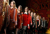 Models walk the runway in the Anna Sui fall 2006 collection fashion show at the Tent in Bryant Park in New York city during Fashion Week 2006 on Wednesday, February 8, 2006.