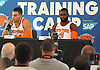 Willy Hernangomez #14 of the New York Knicks, left, fields questions alongside Tim Hardaway, Jr. #3 during the team's Media Day held at Madison Square Garden Training Center in Greenburgh, NY on Monday, Sept. 25, 2017.
