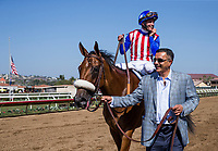 DEL MAR, CA - SEPTEMBER 01: Bellafina with Falvien Prat up wins the Del Mar Debutante Stakes at Del Mar on September 1, 2018 in Del Mar, California.(Photo by Alex Evers/Eclipse Sportswire)