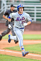 Kingsport Mets center fielder Jarred Kelenic (20) runs to first base during a game against the Elizabethton Twins at Joe O'Brien Field on August 7, 2018 in Elizabethton, Tennessee. The Twins defeated the Mets 16-10. (Tony Farlow/Four Seam Images)