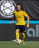 CHARLOTTE, NC - JULY 20: Calum Chambers #21 during a game between ACF Fiorentina and Arsenal at Bank of America Stadium on July 20, 2019 in Charlotte, North Carolina.