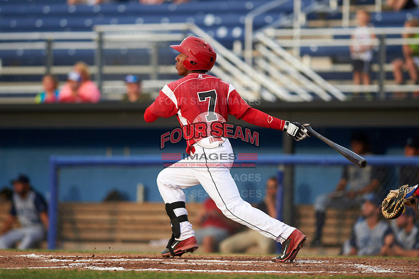 Batavia Muckdogs catcher Pablo Garcia (7) at bat during a game against the Brooklyn Cyclones on July 6, 2016 at Dwyer Stadium in Batavia, New York.  Batavia defeated Brooklyn 15-2.  (Mike Janes/Four Seam Images)