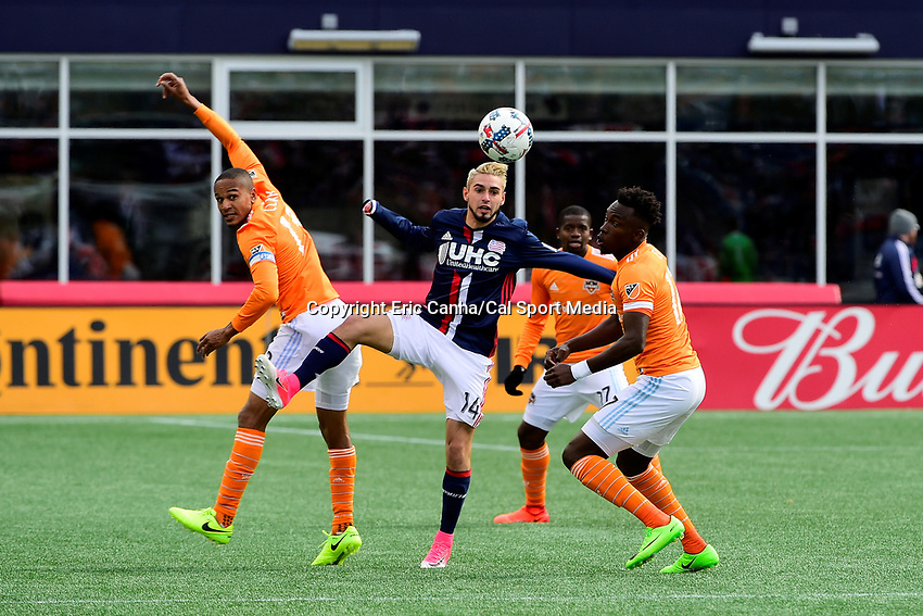 Saturday, April 8, 2017: New England Revolution forward Diego Fagundez (14) plays the ball during the MLS game between Houston Dynamo and the New England Revolution held at Gillette Stadium in Foxborough Massachusetts. New England defeats Houston 2-0. Eric Canha/CSM