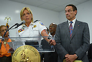September 16, 2013  (Washington, DC)  Metropolitan Police Chief Cathy Lanier, Mayor Vincent Gray (r) and other officials updated the media regarding the Navy Yard shooting during a news conference September 16, 2013.  (Photo by Don Baxter/Media Images International)