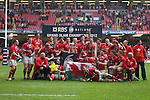 Welsh players celebrate winning the 6 Nations Championship and Grand Slam after victory over France..RBS 6 Nations 2012.Wales v France.Millennium Stadium.17.03.12..CREDIT: STEVE POPE-SPORTINGWALES