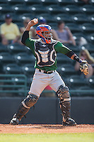 Savannah Sand Gnats catcher Adrian Abreu (24) throws the ball back to his pitcher during the game against the Hickory Crawdads at L.P. Frans Stadium on June 14, 2015 in Hickory, North Carolina.  The Crawdads defeated the Sand Gnats 8-1.  (Brian Westerholt/Four Seam Images)