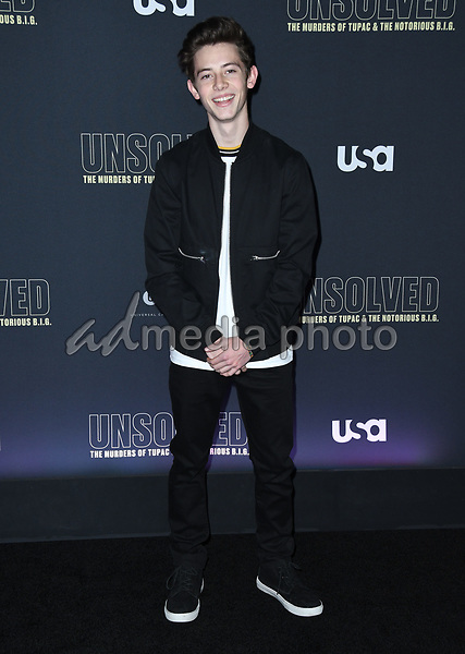 "22 February 2018 - Hollywood, California - Griffin Gluck. USA Network's ""Unsolved: The Murders of Tupac & The Notorious B.I.G."" held at Avalon Hollywood. Photo Credit: Birdie Thompson/AdMedia"