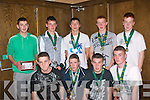 5559-5562.---------.Award's Night.-------------.U17 team members,who won the Kerry cup,at St Brendan's Park soccer club award's night in the Grand hotel last Saturday were(front)L-R Fergal maunsell,Graham O'Leary,Lorcan Seymour and Arron O'Connor,standing,L-R Diarmuid McGarry,Billy Mullins,Kieran O'Mahony,Laurance Bastible and Shane O'Callighan.