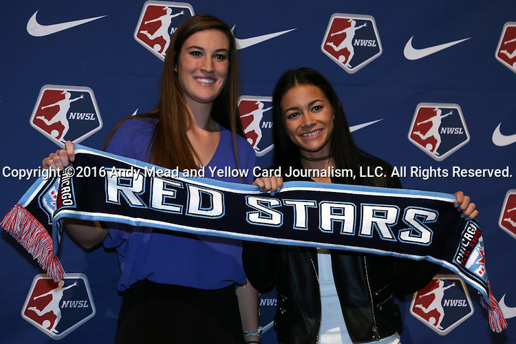15 January 2016: Chicago Red Stars draft picks #19 Katie Naughton (left) and #22 Sarah Gorden (right). The 2016 NWSL College Draft was held at The Baltimore Convention Center in Baltimore, Maryland as part of the annual NSCAA Convention.