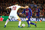 UEFA Champions League 2017/2018.<br /> Quarter-finals 1st leg.<br /> FC Barcelona vs AS Roma: 4-1.<br /> Federico Fazio vs Lionel Messi.
