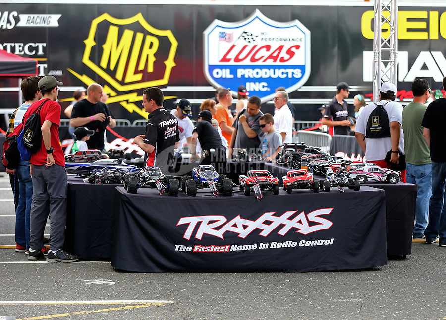 May 30, 2014; Englishtown, NJ, USA; Traxxas display in the NHRA manufacturers Midway during qualifying for the Summernationals at Raceway Park. Mandatory Credit: Mark J. Rebilas-