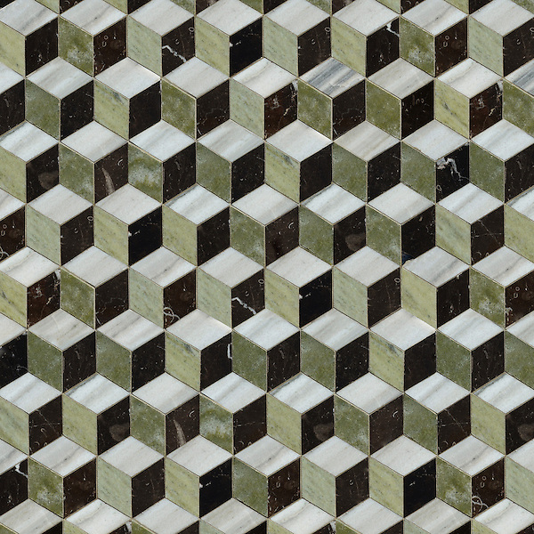 Euclid, a hand-cut stone mosaic, shown in polished Horizon, Verde Luna and Saint Laurent, is part of the Illusions™ Collection by Sara Baldwin  Designs for New Ravenna.