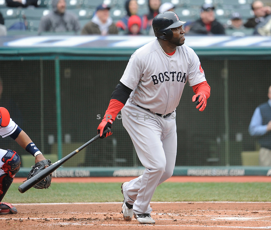 DAVID ORTIZ, of the Boston Red Sox, in action during the Red Sox game against the Cleveland Indians on April 7, 2011 at Progressive Field in Cleveland, Ohio.  The Indians beat the Red Sox 1-0.